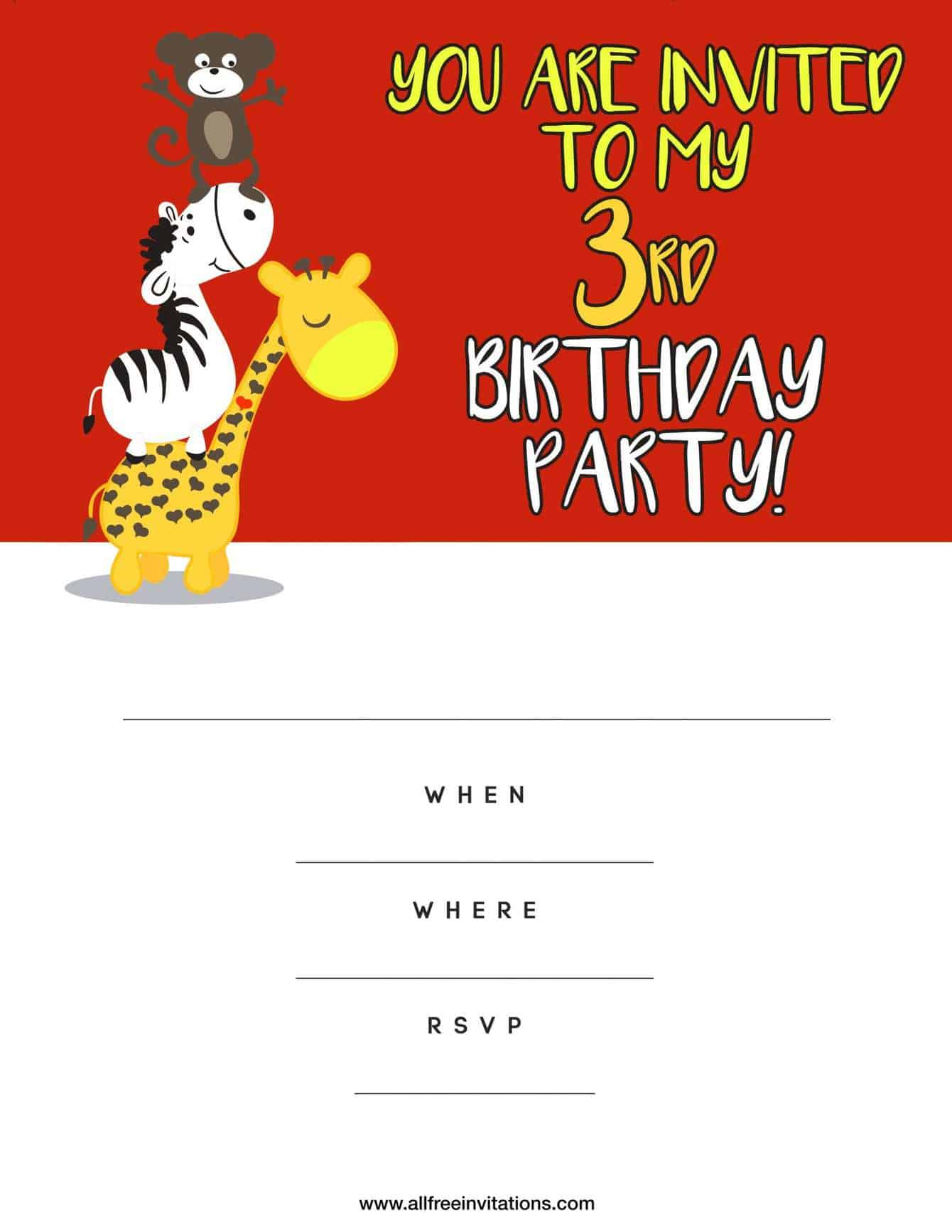 Free kids birthday party invitations 3rd birthday party invitation red animals filmwisefo