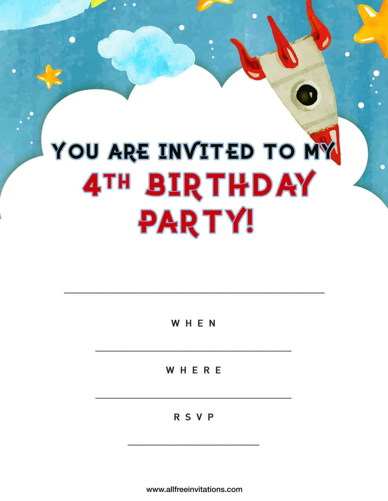 4th Birthday Party Invitation Blue Space Rocket