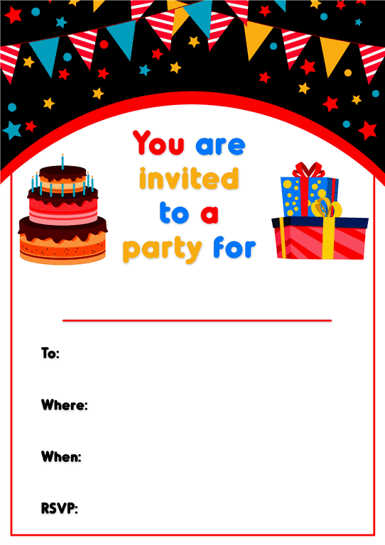 bright bunting design kids party invitations