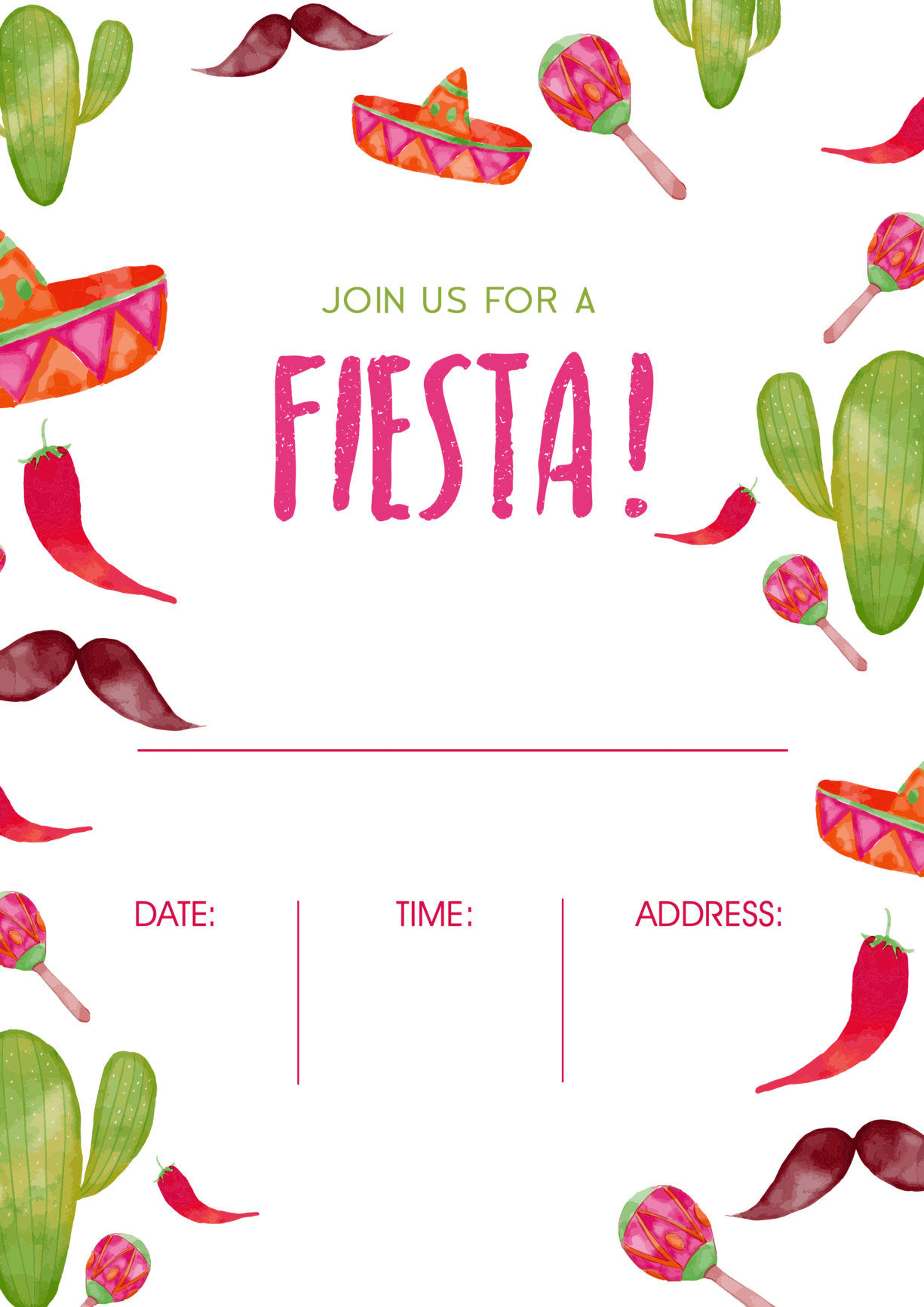 Mexican party fiesta invitation