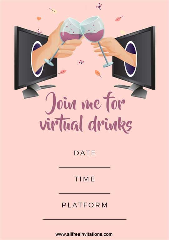 Join me for virutal drinks - all free invitations iso parties (Medium)