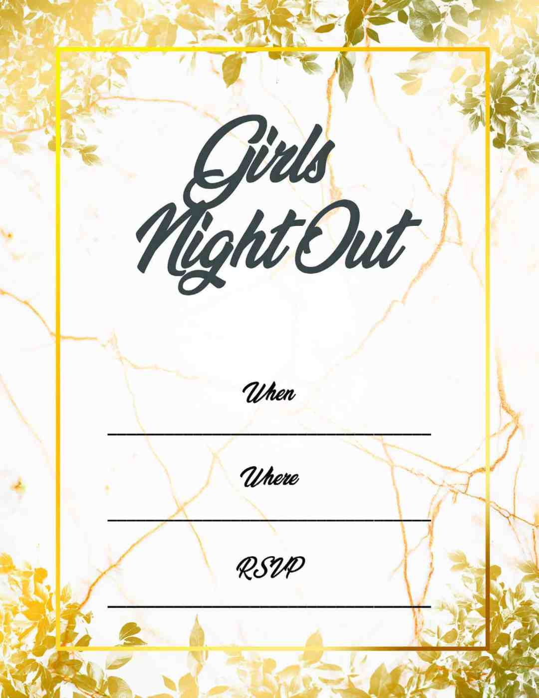 Girls Night Out - Gold and White Design - All Free Invitations