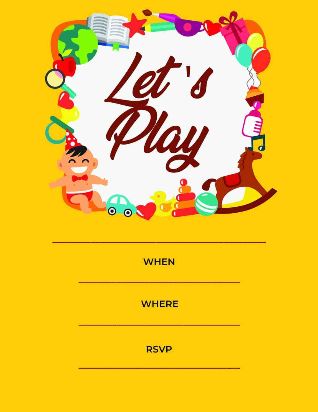 Play Date - Let's Play Yellow Horse Baby Party - All Free Invitations