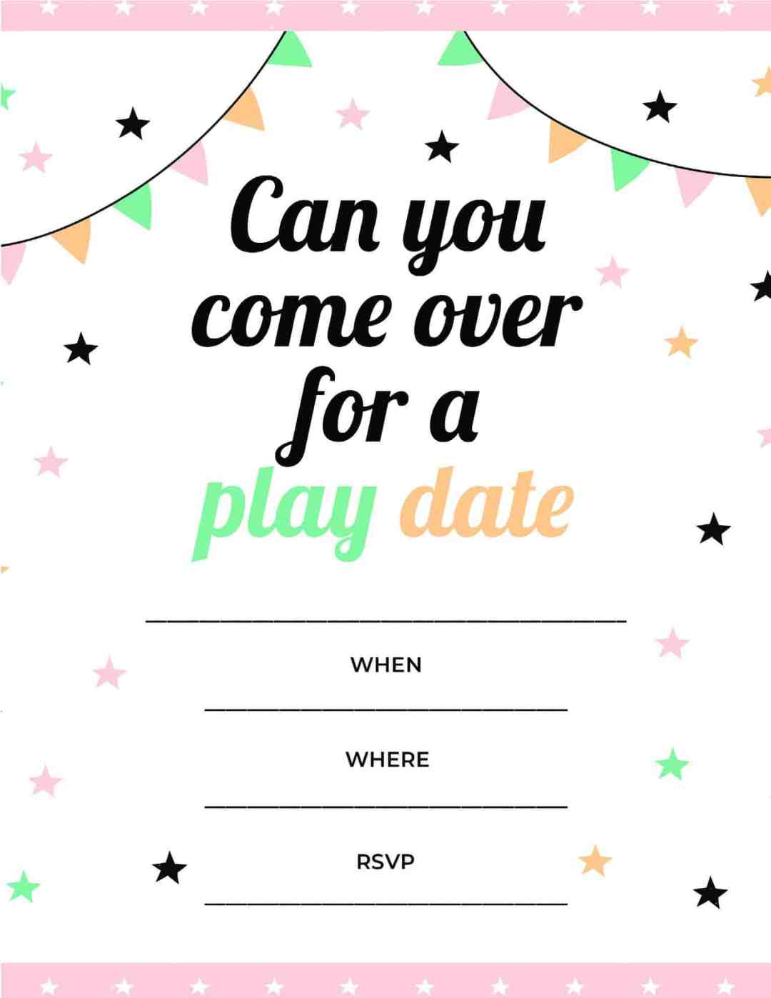 Play Date - Can You Come Over for a Play Date - All Free Invitations
