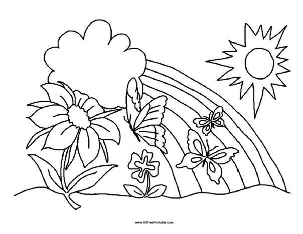 Spring Coloring Page Free Printable Allfreeprintable Com