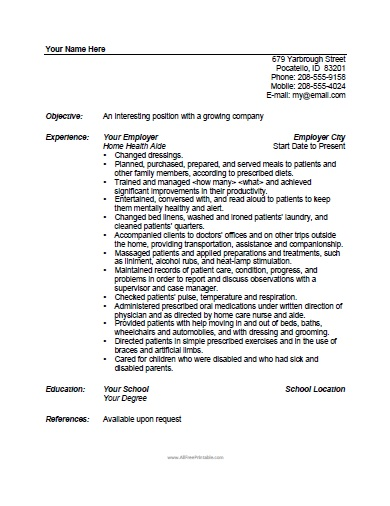 health aide resume template