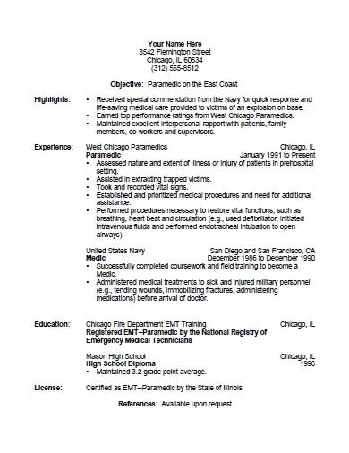 emergency medical technician resume template