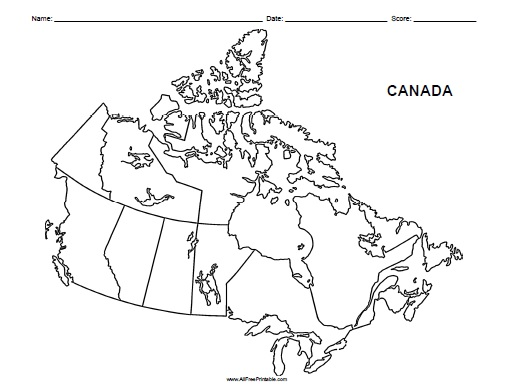 Canada Blank Map Free Printable Allfreeprintable Com
