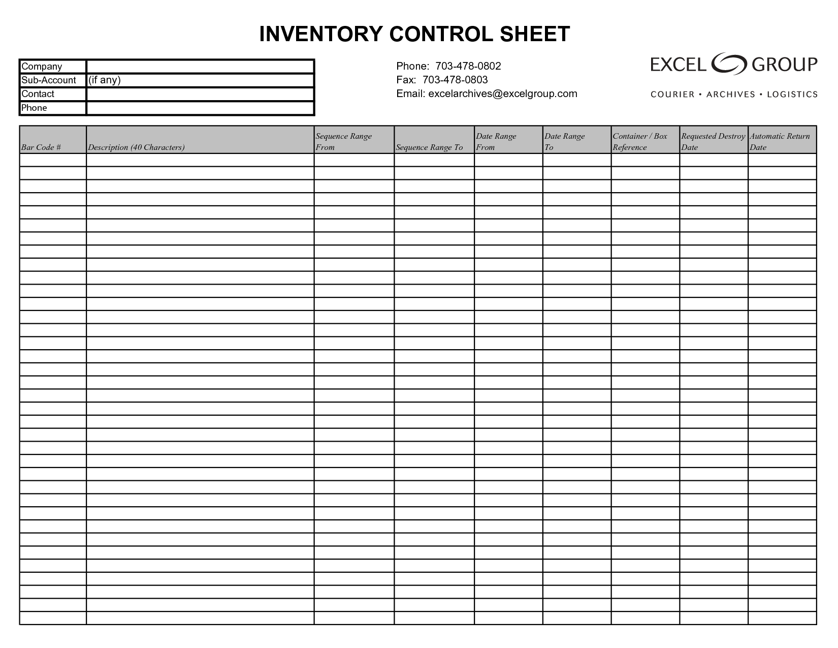 Free Printable Inventory Sheets Business