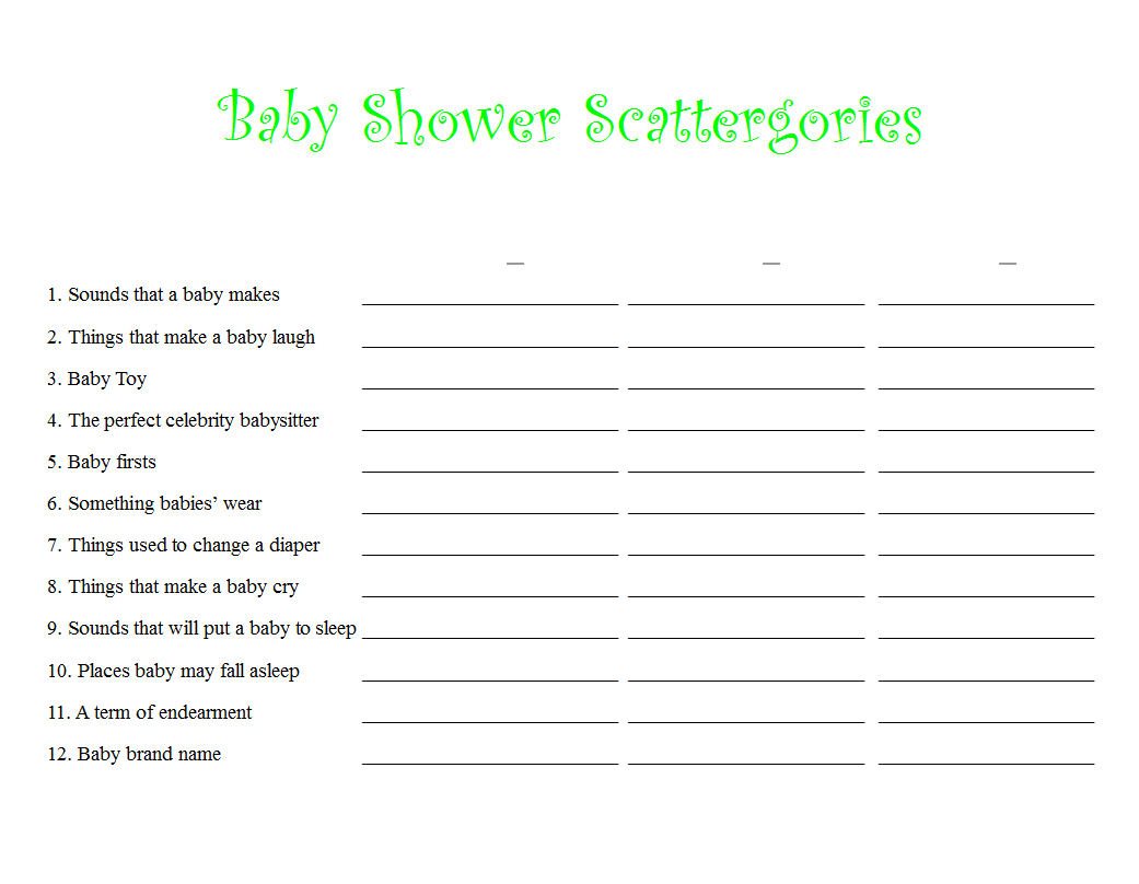 Scattergories Worksheet