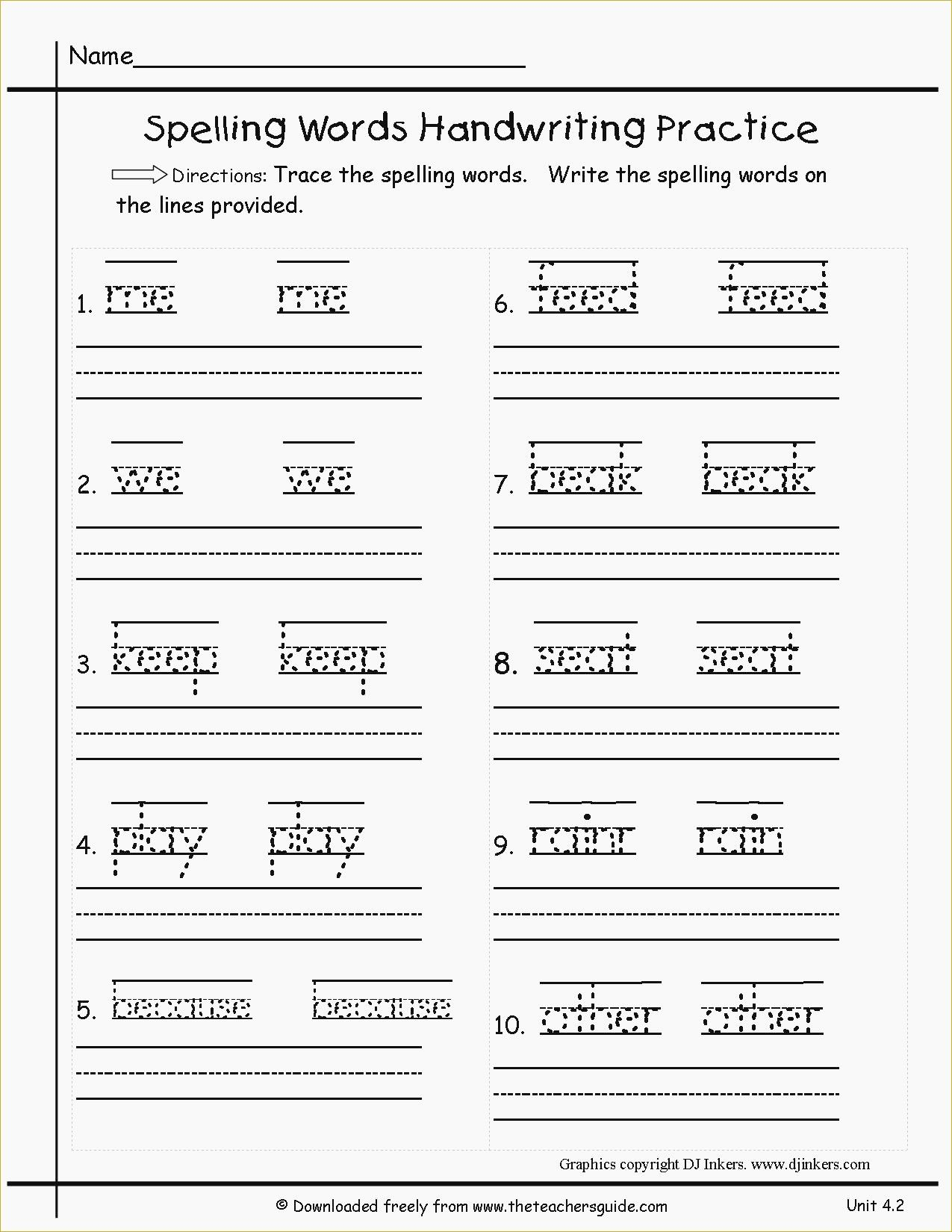 Free Printable Spelling Practice Worksheets