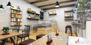 เขียนแบบ 3D ร้านกาแฟ