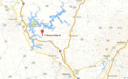 Acwortg Georgia Map Location Of Boones Ridge