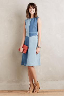 pieced denim dress