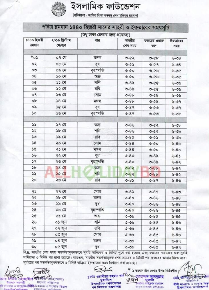 Sehri Iftar Schedule