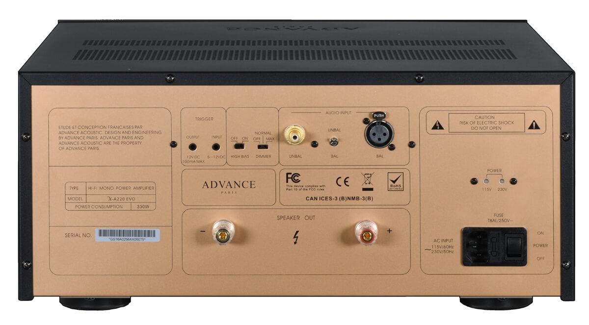 Advance Paris X-A220 EVO mono power amplifier rear