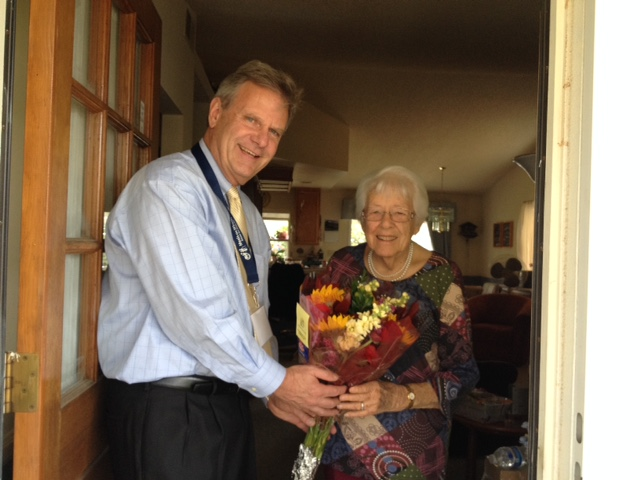 Mayor Jim Desmond wishing client Bettie Wolfe Happy 91st Birthday - 2