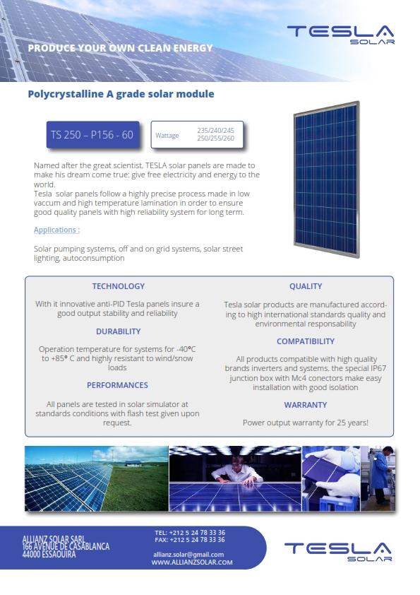 TESLA solar panels datasheet ALLIANZ SOLAR_001