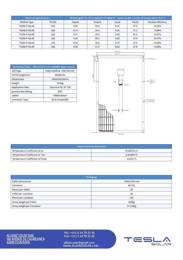 TESLA solar panels datasheet ALLIANZ SOLAR_002