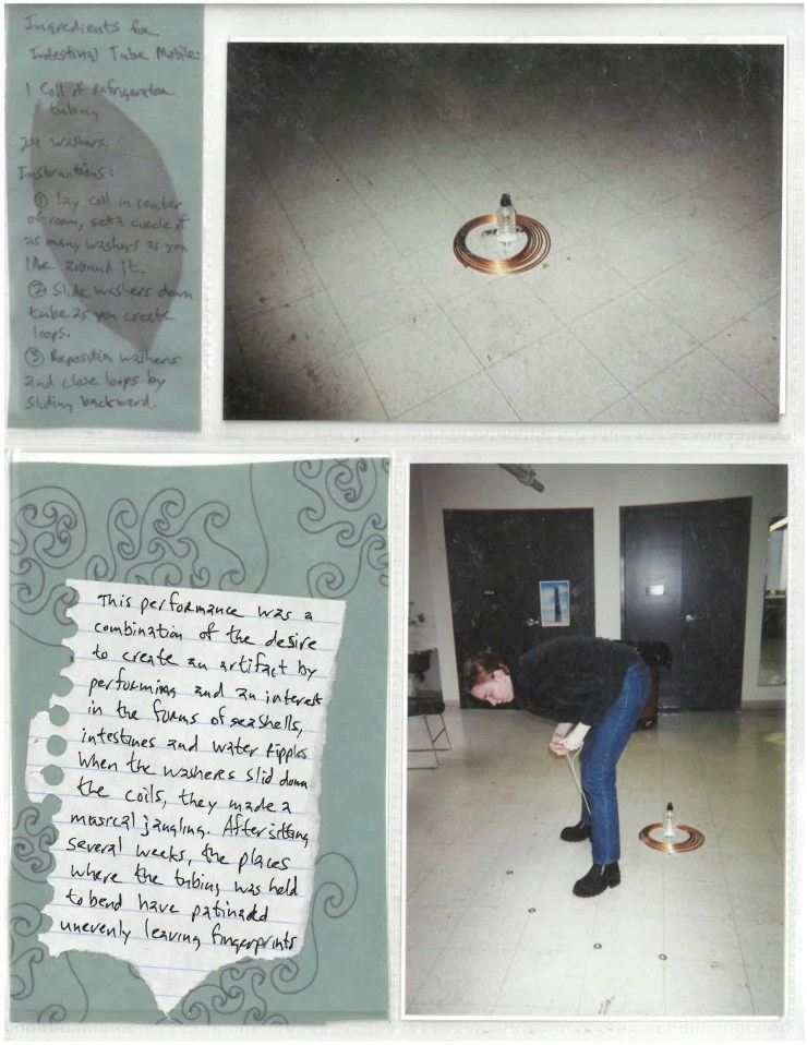 Page from red scrapbook, photographs of me with the copper tube and washers in an empty studio room.