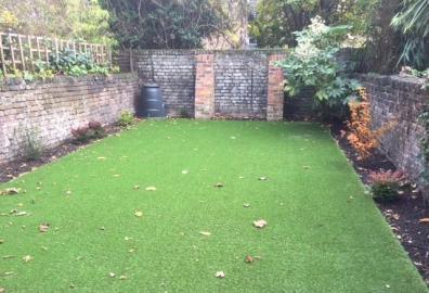 Landscaped garden lawn