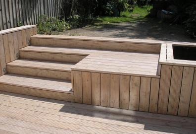 Garden decking with steps