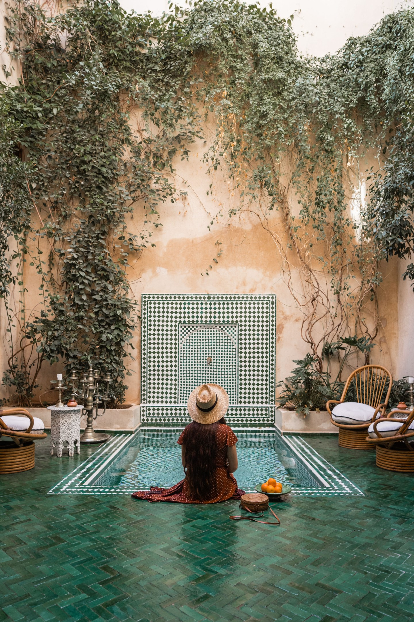 Beautiful green tiled pool at El Fenn Riad, Marrakech