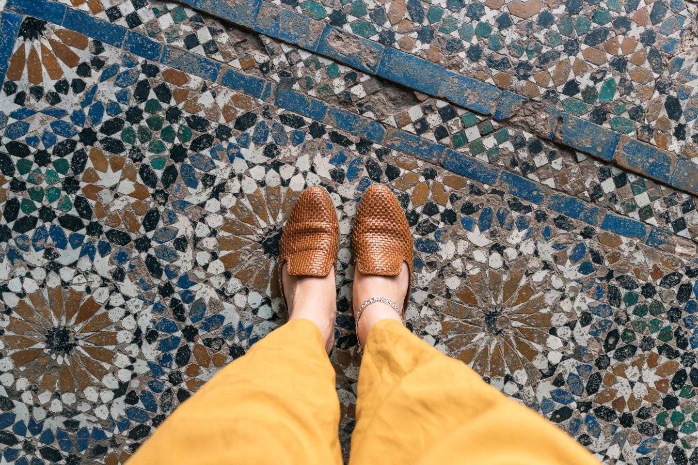 Tiled floor details of La Bahia Palace in Marrakech