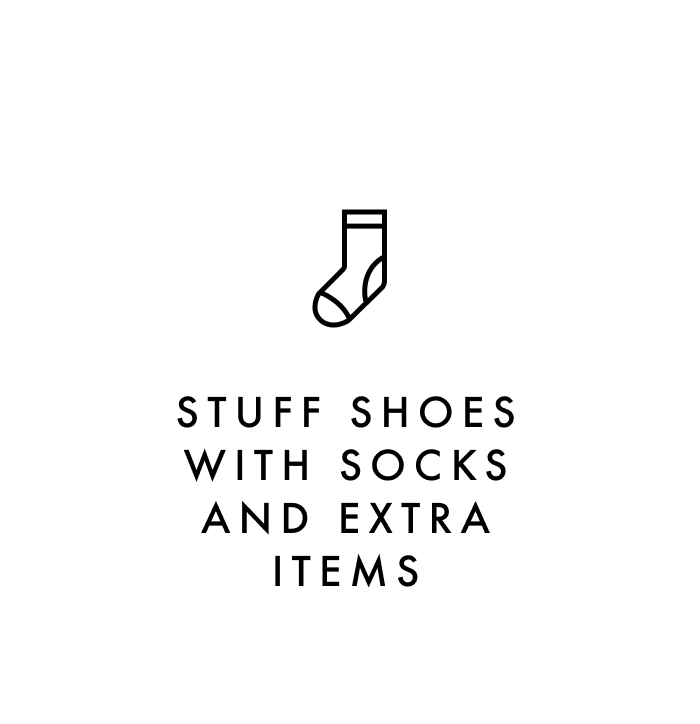 Carry on packing tip #5: Stuff shoes with socks and extra items