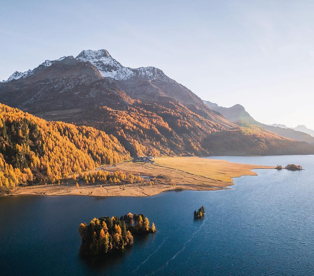 Fall colors surrounding Lake Sils, Switzerland