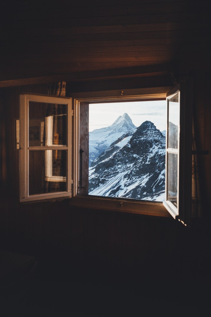 Window views of the mountains from Berghotel Faulhorn