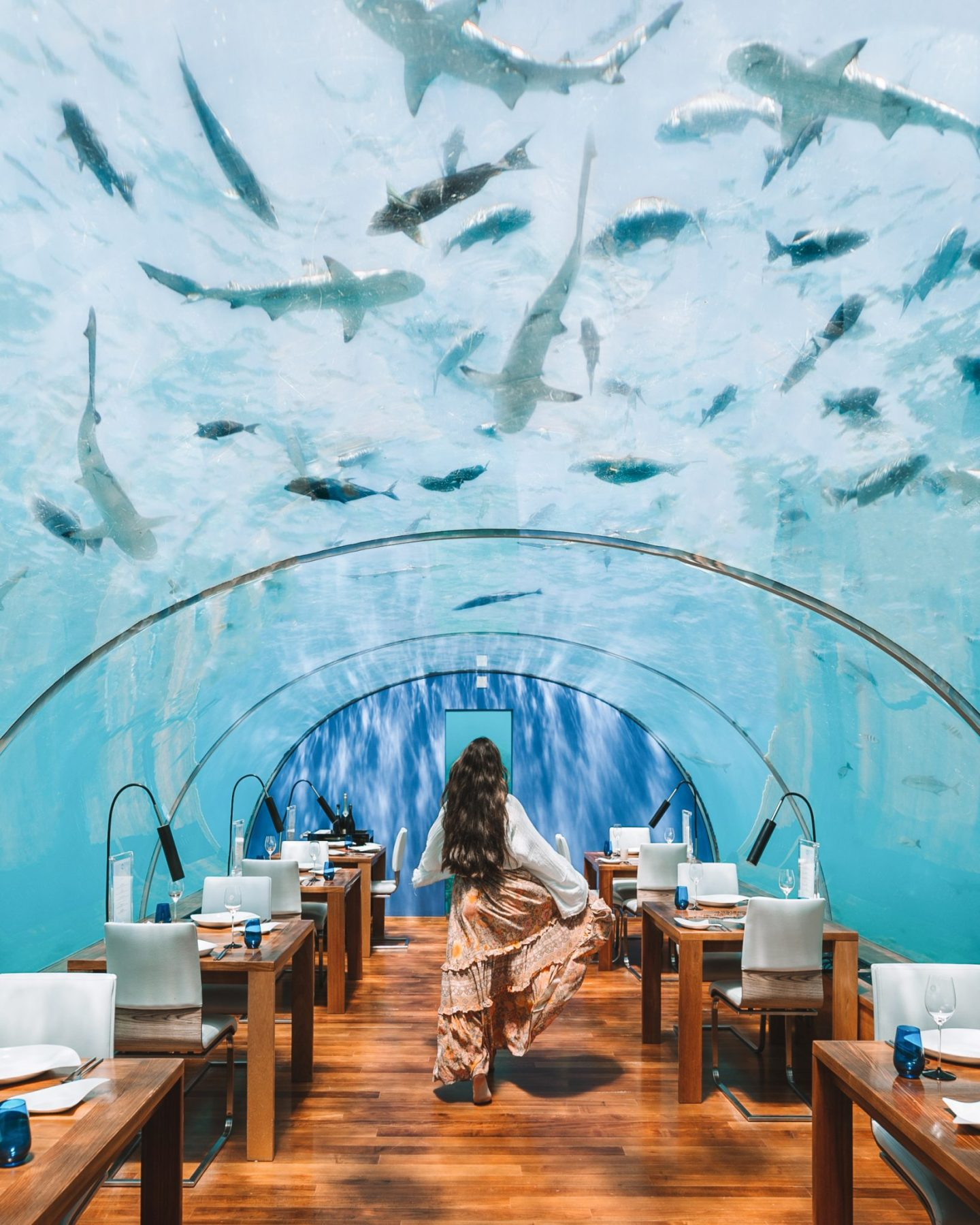 Girl walking in an undersea restaurant with sharks and fish above in the Maldives