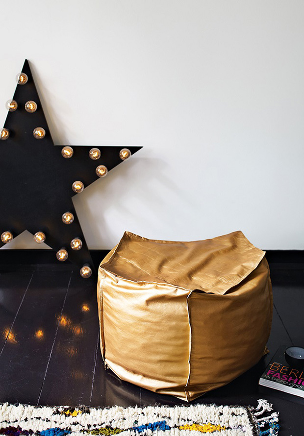 A Star That Lights Up Metallic Gold Bean Bag Seat And Trimmed Shadow Boxes Are All Unexpected But Whimsical Details Interest Texture To The
