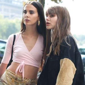 Two gorgeous models outside the Journe show in Paris duringhellip