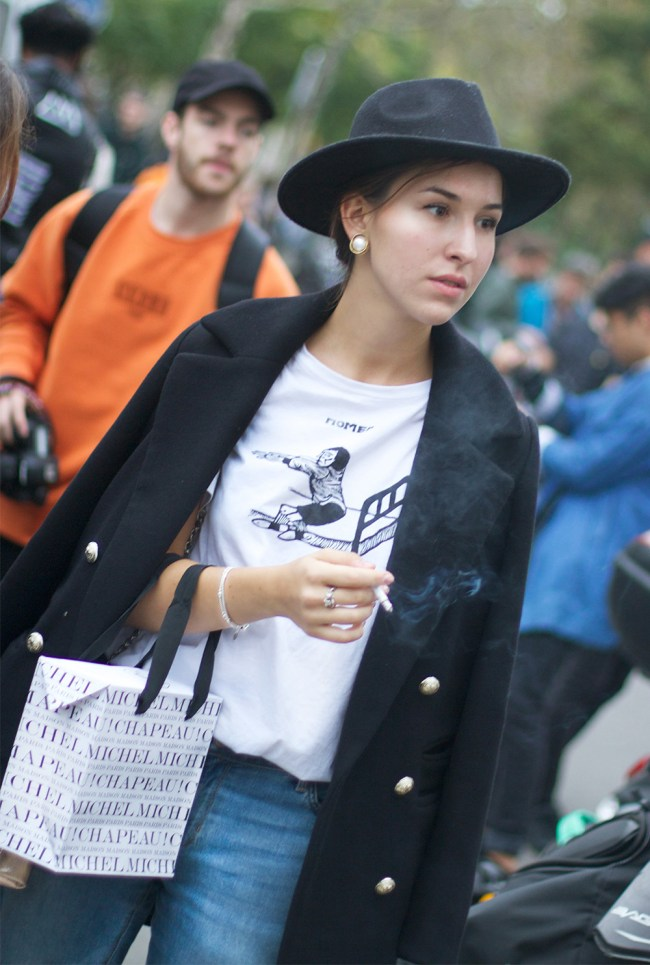 Yes, another installment of Paris Fashion Week street style. This was shot outside the Rick Owens show