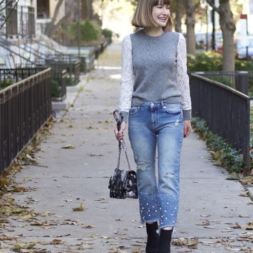 Lace Sleeve Sweater and Pearl Jeans