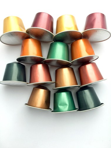 multicolored Nespresso-compatible aluminum capsules
