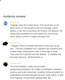 Thappad Movie Google Reviews