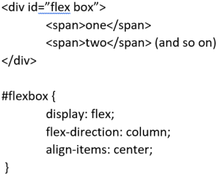 "<div id=""flex box""> <span>one</span> <span>two</span> (and so on)  </div> #flexbox { display: flex; flex-direction: column align-items: center; }"