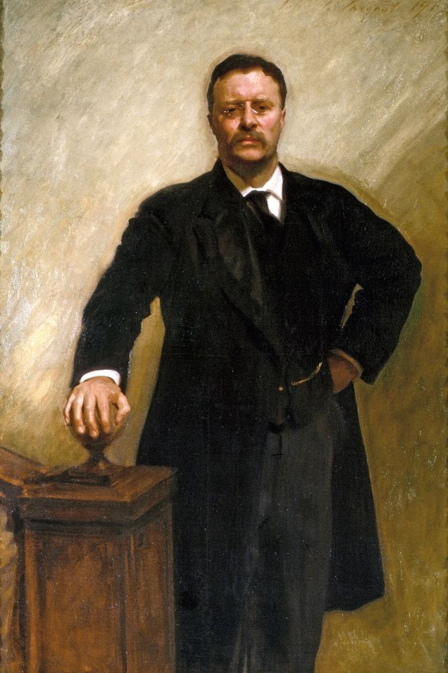 Portrait of Theodore Roosevelt standing by a banister. The painting has broad visible brush strokes.