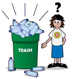 Trash Can Full of Plastic Bottles