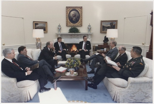President Bush in a meeting