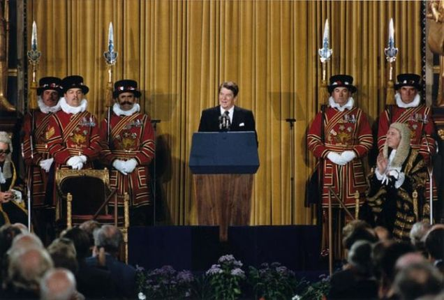 President Reagan addressing the British Parliment