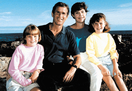 George and Laura Bush with their daughters