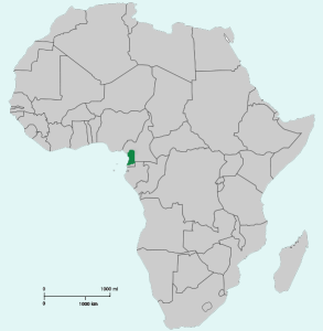shows the location of the Goliath frog