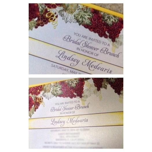 Sea glass green, yellow, and plum color palette. Loving these bridal shower invitations!! #allintheinvite #custominvitations #bridalshower #winetheme #weddinginvitation #invitation
