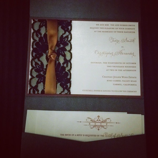 Black lace, copper ribbon & a touch of wine loveliness! #allintheinvite #lacewedding #wedding #weddinginvitation