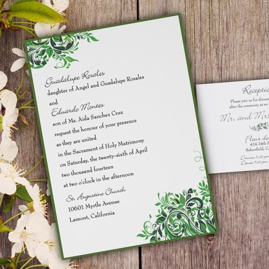 From our Sweet & Simple collection. Vintage Swirl wedding invitation featuring two tone green swirls. #allintheinvite #invitation #weddinginvitation #sweetandsimpledesigns