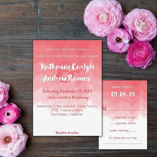 Watercolor brushstrokes create a beautiful & colorful backdrop #allintheinvite #watercolorinvitation #wedding #weddinginvitation #bohowedding