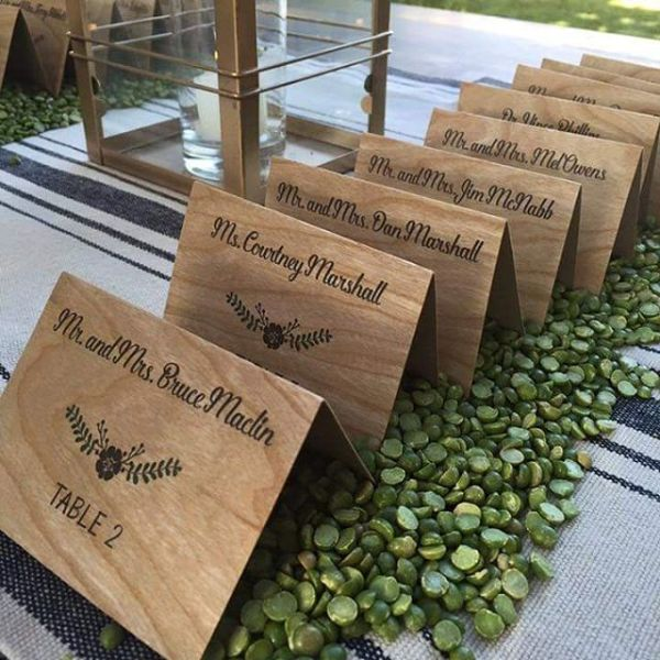 We have the perfect place cards for your rustic theme! #allintheinvite #woodinvitations #rusticwedding